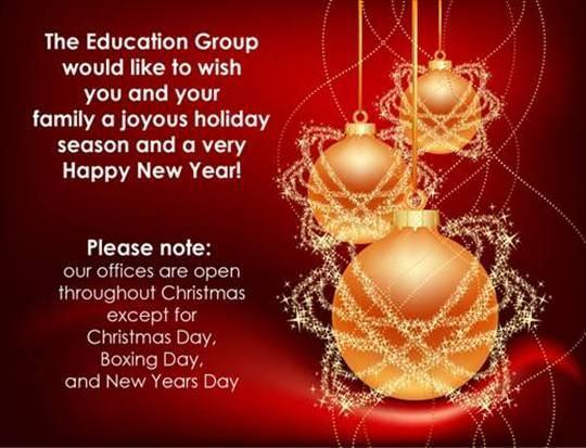 シドニー語学学校からのクリスマスカード